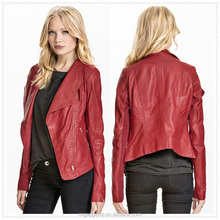cheap price red leather usa motor jacket for women made in china OEM service