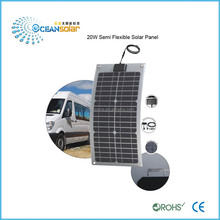 cheapest price per watt semi-Flexible 20W 18V power 12V battery Monocrystalline Solar Panel guangzhou factory direct sale