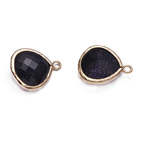 Black Jade Synthetic Briolette Stone Bezel Set Framed Stone Pendants Jewelry Supplies