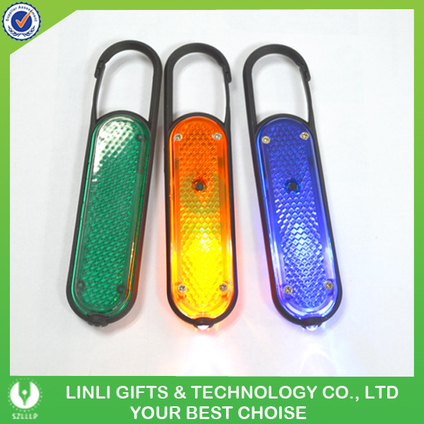 2015 Hot Selling Plastic Logo Printed Carabiner Reflector Keychain Wth LED Light