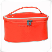 Waterproof red/tangerine Cosmetic bag with white piping Utility
