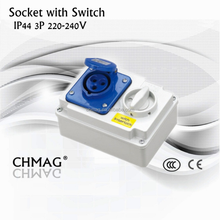 Chmag isolator socket 16A 32A 220-240V 3P IP44 Industrial connector Interlock Switch Socket
