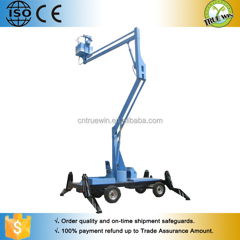 For warehousing electric control boom lift / Mounted trailer portable construction boom lifter