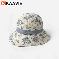 Custom women ladies outdoor floral printed cotton fabric vintage cloche bucket hat