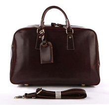 7156B Men Business Travel Leather Duffel Bag With Secret Compartment