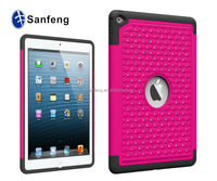 Most popular rubberize rhinestone phone cover for ipad air 2 hard case / hot pink new protector case for ipad air 2