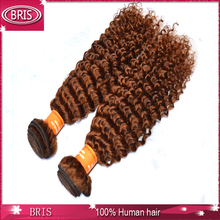 most popular natural color one donor light brown curly weave extensions