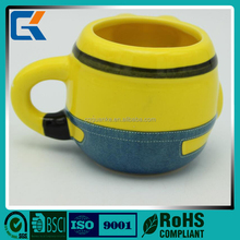 Minions shape hot selling colorful 3D printing ceramic mug cups for kids