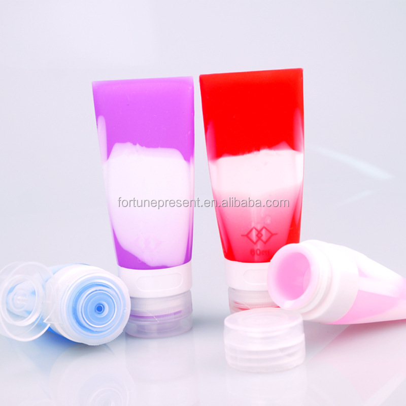 Mini travel sets silicone shampoo bottle , colorful silicone travel cosmetic bottle
