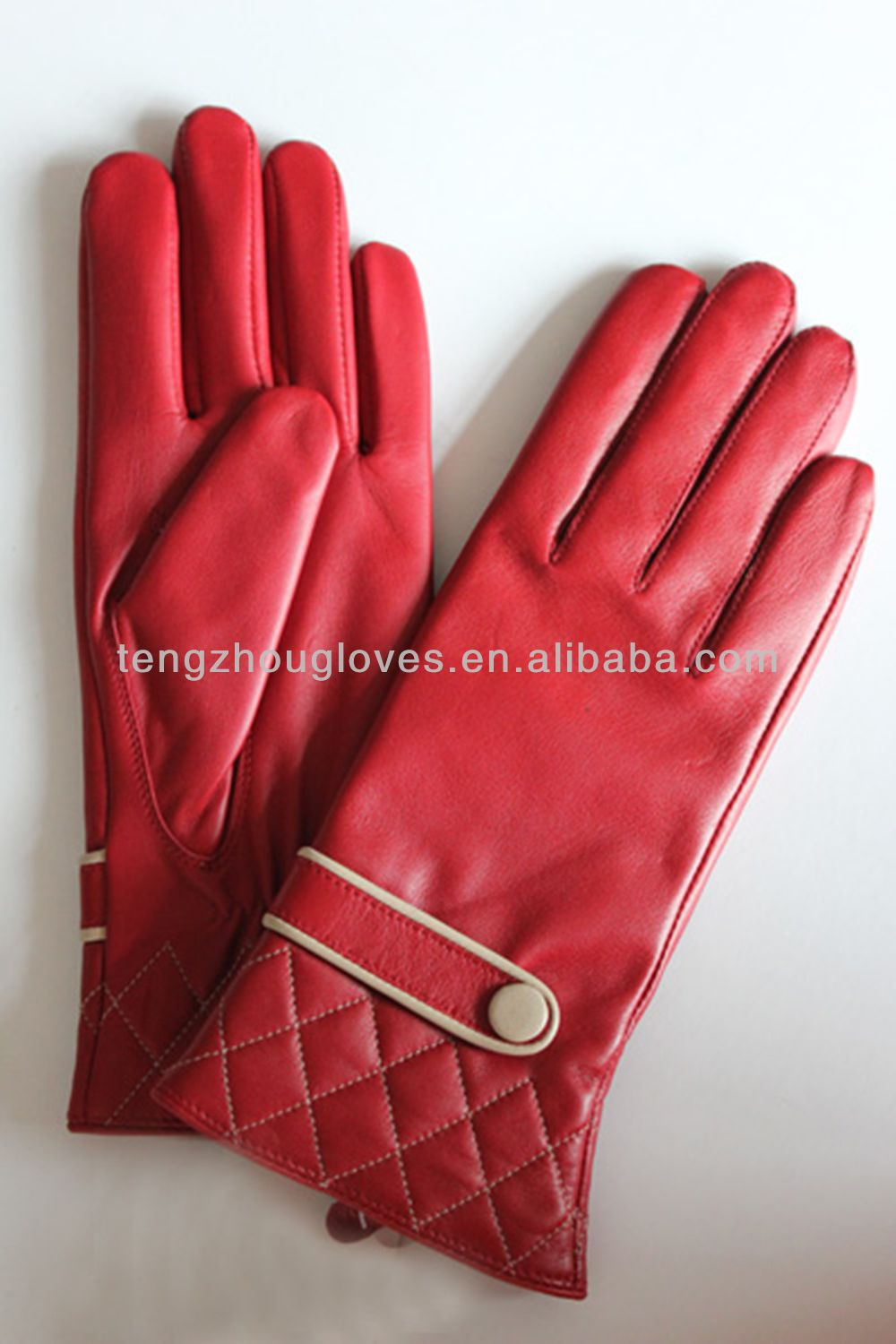 Red color soft lamb skin leather ladies dress gloves