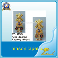 Personalized own design gold railroad masonic badge pins
