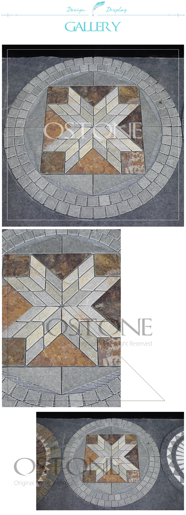Cheap Custom Design Green Slate Mosaic Medallion Floor Patterns
