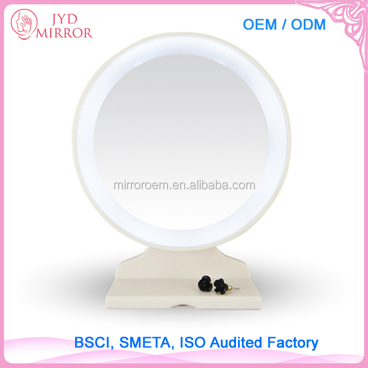 Fascinate table mirror 10pcs round mental LED makeup mirror