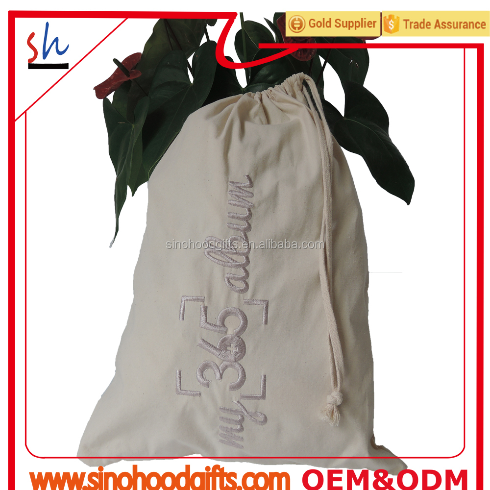 cotton canvas laundry bag with embroidery logo drawstring bag eco-friendly customize wholesale popular style