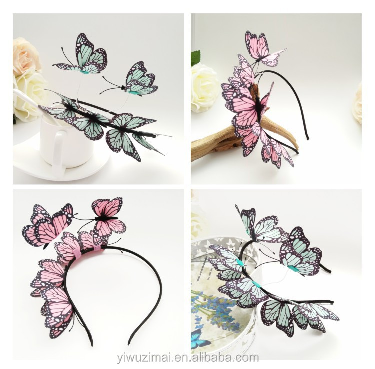 Fashion Woman Simulation Butterfly Hair band Beautiful Butterfly Headband for Bride