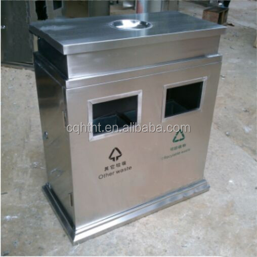 Outdoor hairline stainless steel durable trash bin