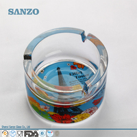 Sanzo Customized Colored Large Round Glass Ashtray with Three Grooves