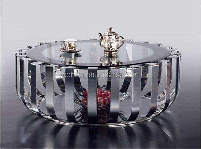 2015 round center table/Popular European design stainless steel glass coffee table B683