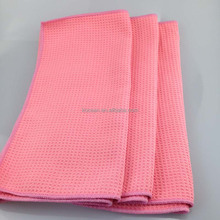 Household Pink Car Care Microfiber Waffle Cleaning Cloth