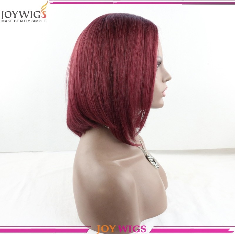 wholesale cheap and good quality color burg or red Brazilian human hair full lace bob wig