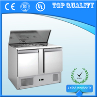 Commercial Double Door Salad Bar Under Counter Refrigerator Bar Fridge