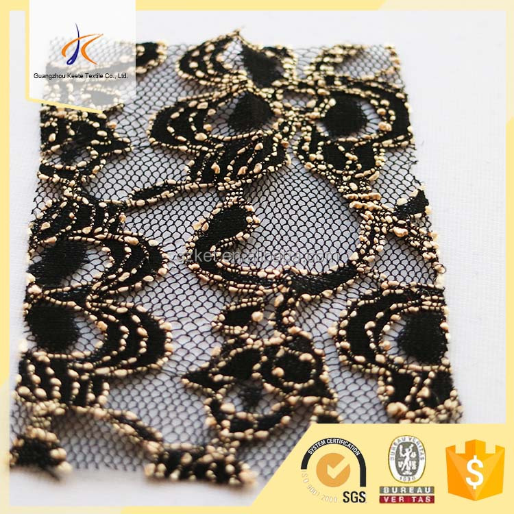 high quality guipure lace fabric 3d flower black embroidered lace fabric