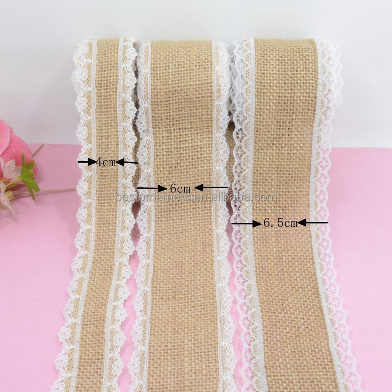 Jute Burlap Natural Hessian Ribbon With Lace Trim Edge For Wedding Rustic Decoration