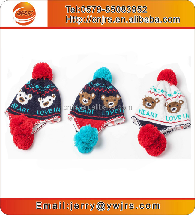 Children cute winter knit earflap custom pom pom beanie hat with free knitting pattern and ball