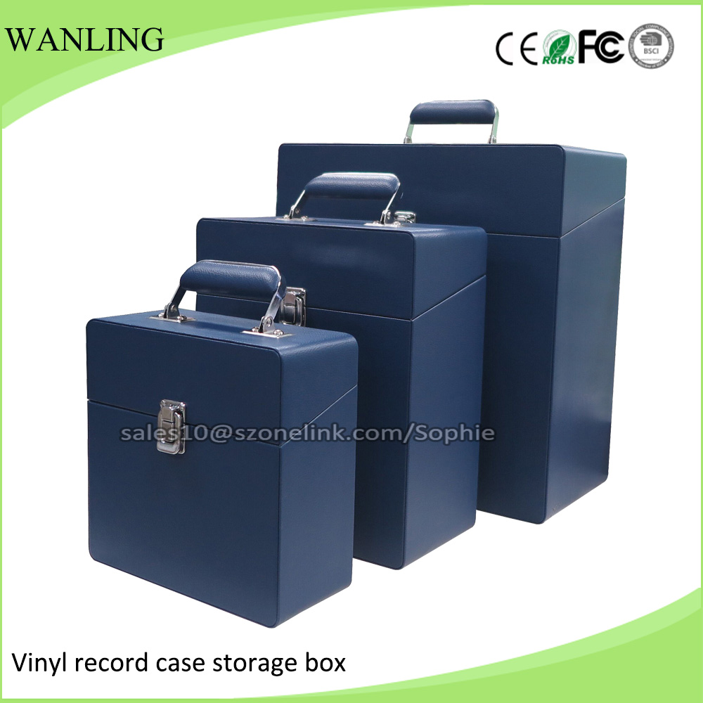 High Quality Leather Vinyls Album Collections Vinyl Record Carrying Case Box