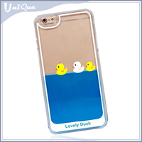 Newest popular 3D floating cute duck liquid transparent back cover Moving glitter mobile phone case for apple iphone 6 plus 7