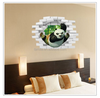Removable kids 3d Kung Fu Panda wall stickers