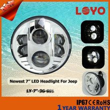 "Hi/lo beam led headlight for jeep wrangler 7"" round led 80w offroad driving light with DRL"