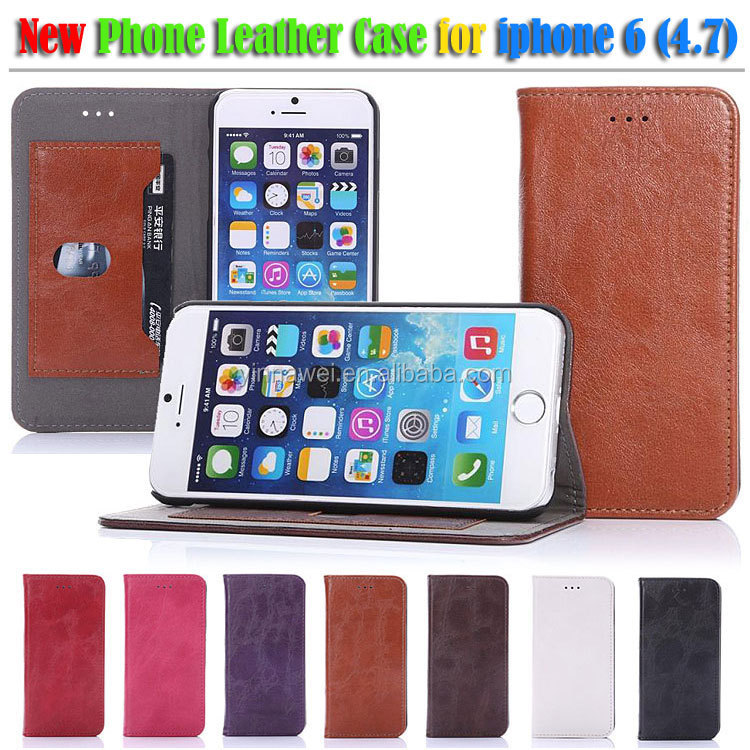 Alibaba russian newest double window view pu leather mobile phone flip case for iphone 6 phone accessory