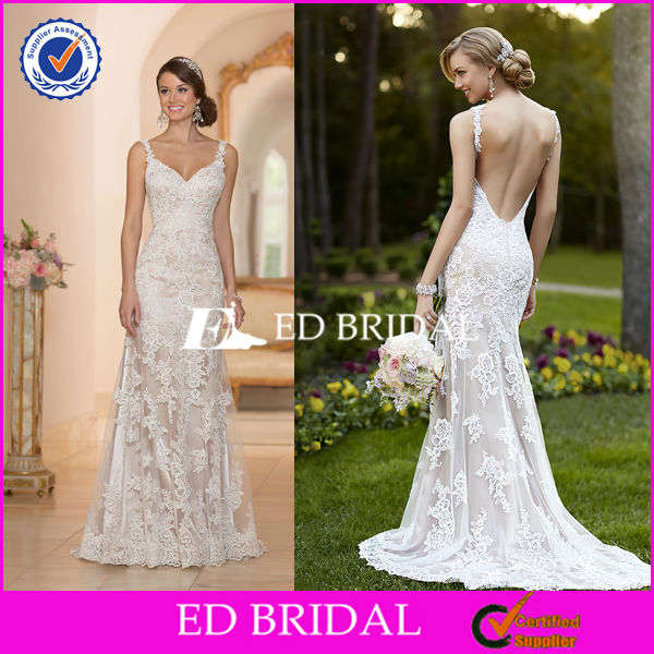 2573 Two Shoulder Straps Sexy Open Back Top Quality Lace Wedding Gown Bridal Changing Dresses