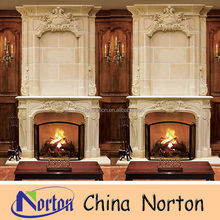 made in china wood stove fireplace mantel with lion ethiopian furniture NTMF-F130X