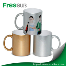 11oz sublimation blank coating liquid ceramic coffee mugs Golden/Silver cup