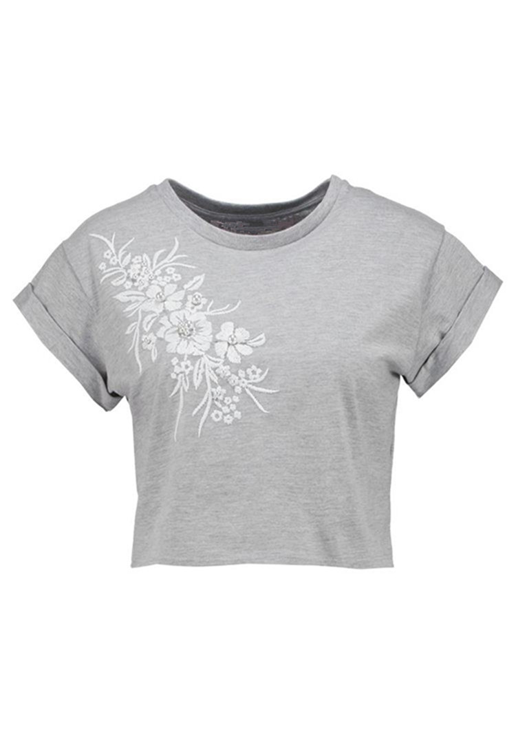 Custom Embroidered Women Extra Short T-shirt With Pearls