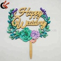 2018 New Arrival Leaf Wreath Our Wedding Wooden Cake Topper