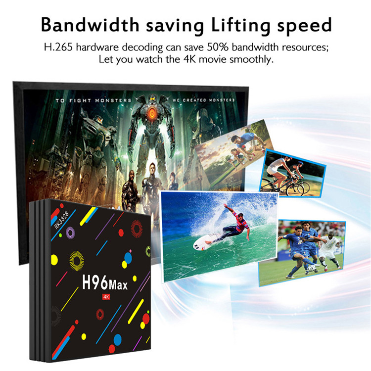 dvb smart tv box H96 MAX H2 android 7.1 RK3328 HD cable 4G 32G led set top box