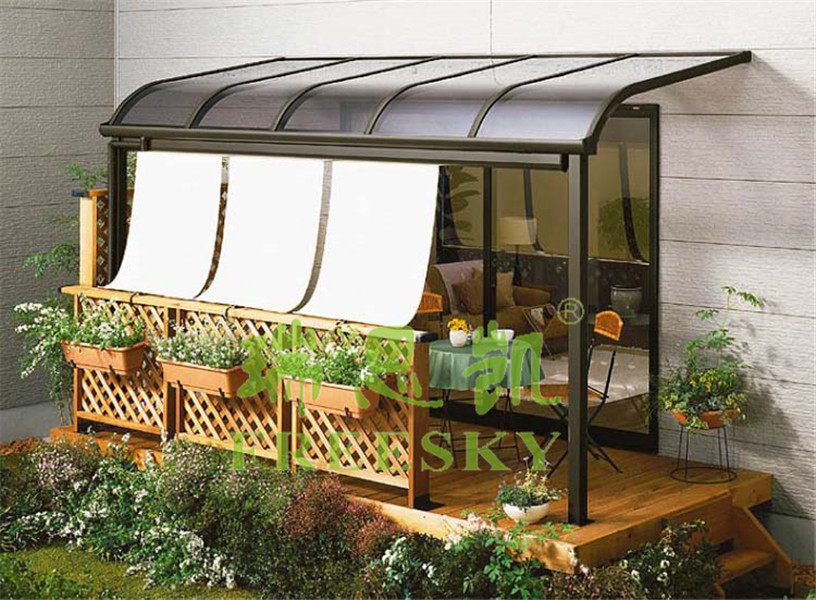 easy fixed outdoor metal gazebo canopy with polycarbonate solid roof and aluminum frame