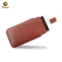 Protective wallet style pouch leather phone case with magnetic strap