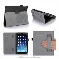with hand holder and folio stand PU leather case for Ipad air 2