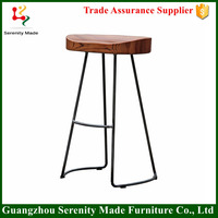 2016 Good quality industrial wooden seat bar stool high chair with metal legs