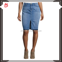 Fashion ladies short skirt designs high waist blue jeans skirt