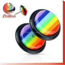Zhiren 2015 populares rasta cheater fake ear plugs, cheater piercing, Faux enchufes