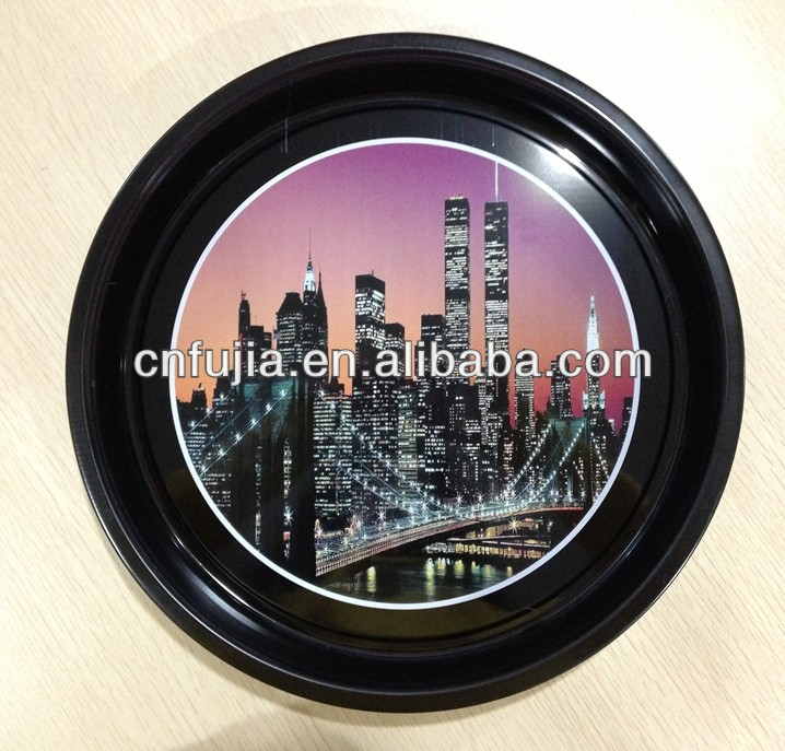 Hot selling vintage printing customized metal craft round tin tray