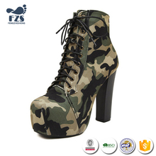 HFRTA166 Factory price camouflage material lace up high heels boot women shoes 2017