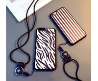 Hot Sale Zebra Stripe Silicon Soft TPU Case hanging lanyard Cover For iPhone 6 4.7inch 6Plus 5.5inch CA1117