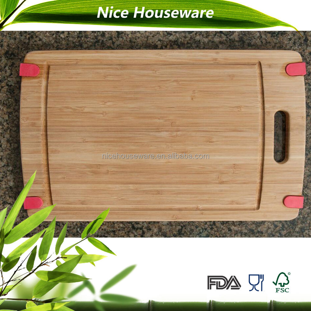 Non-slip Bamboo Cutting Board with nonskid rubber tabs for carving meat