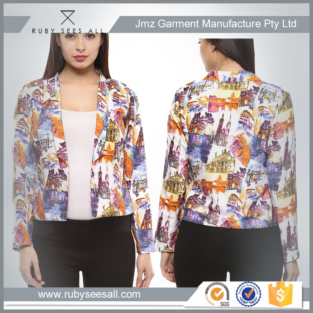 OEM ladies fashion all over sublimation printed fancy coat for women winter new design 2016